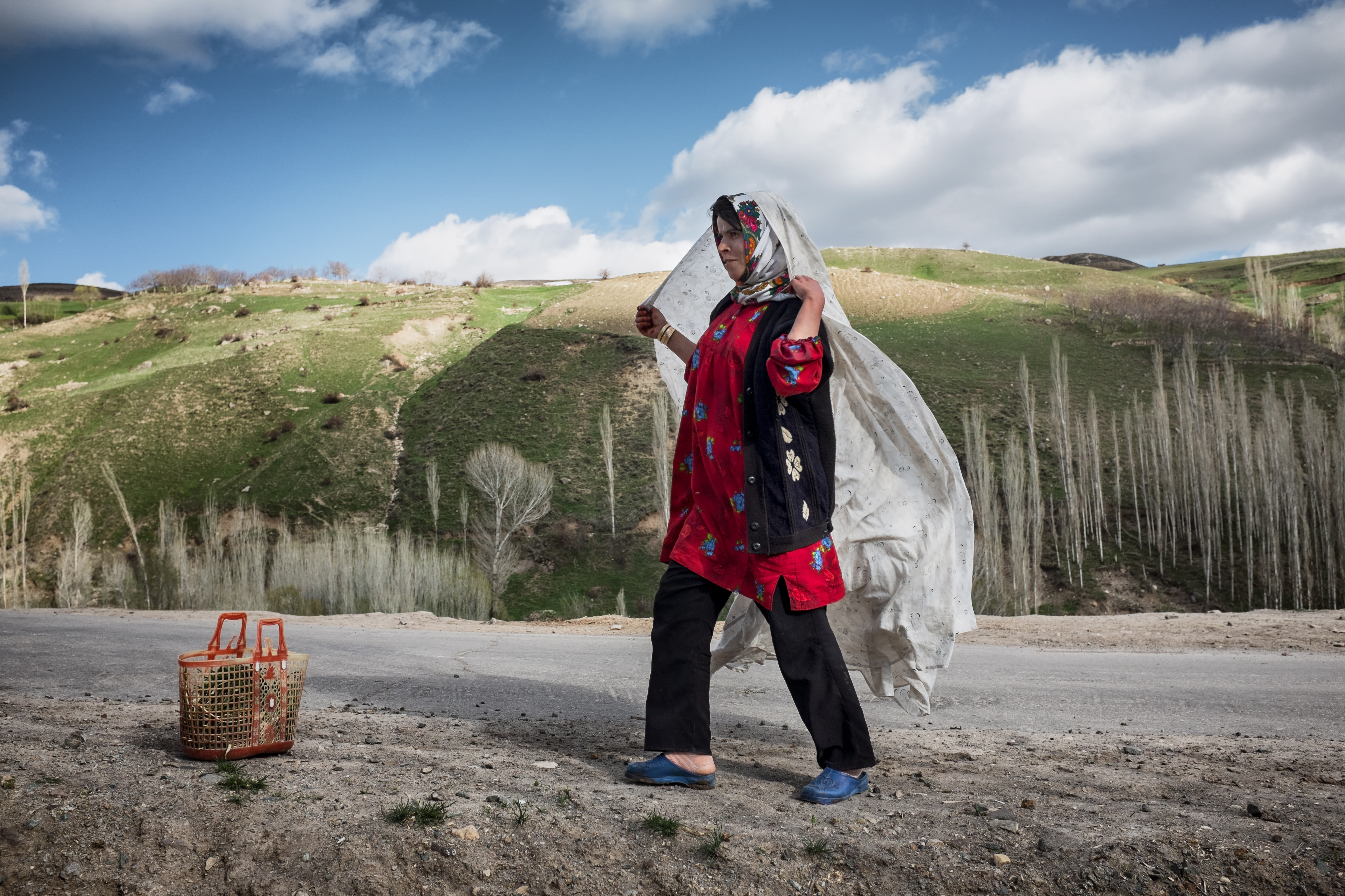 Roghayyeh is seen adjusting her chador after collecting herbs in the fields on the outskirts of Ajabshir, East Azerbaijan, Iran.