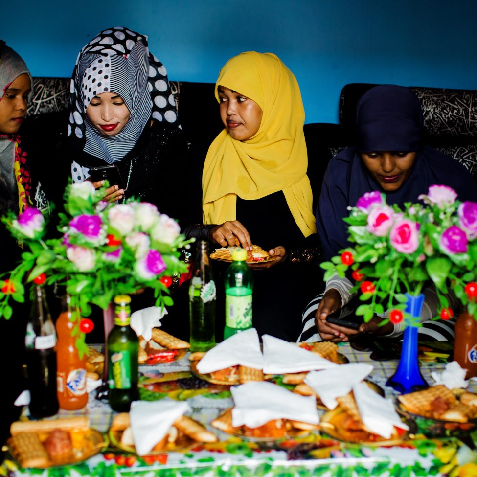 Typical snacks like chewing gum, sodas, biscuits and xalwo (halva) are offered at a women's party called Shaash Saar close to kisenyi neighbourhood in Kampala, which traditionally happens seven days after a wedding.