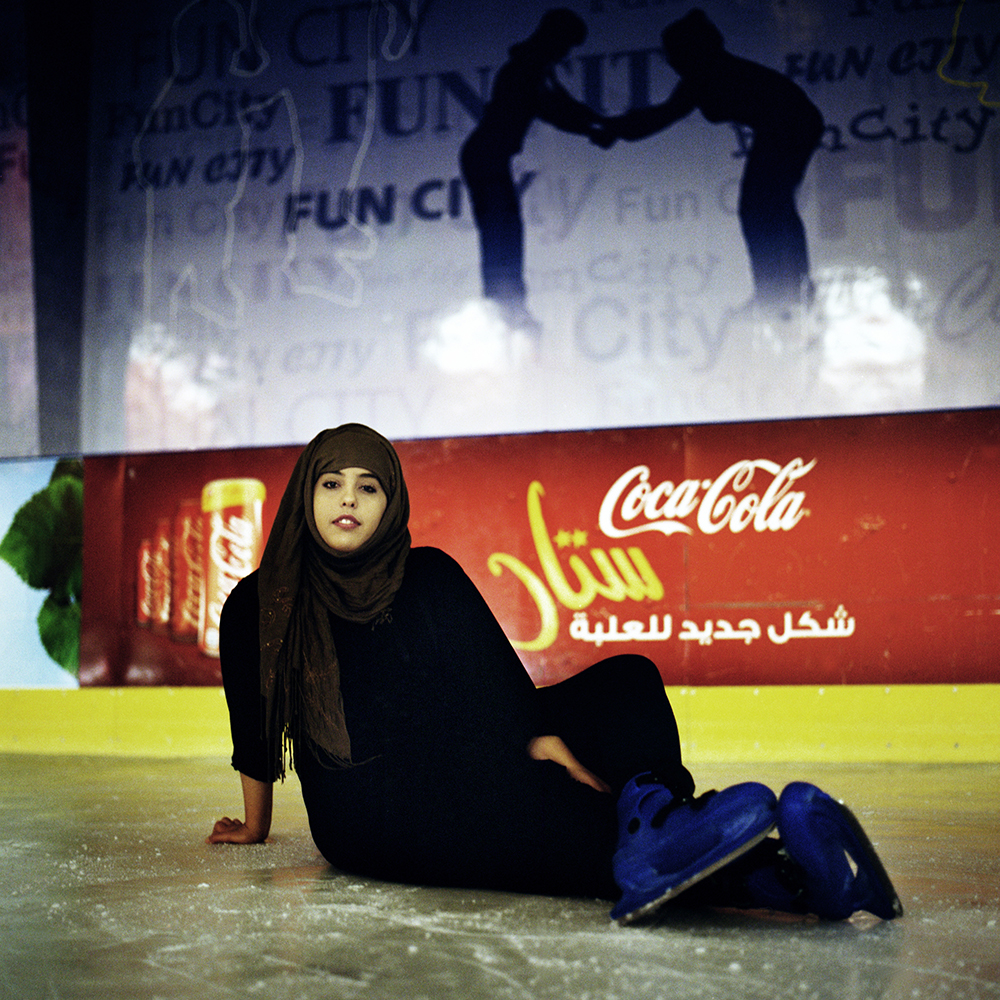 """Fatoom Gabran, 20 comes to skate at Fun City in Hedda every day. She is a University student and has a dream: """" To become a lawyer. """""""
